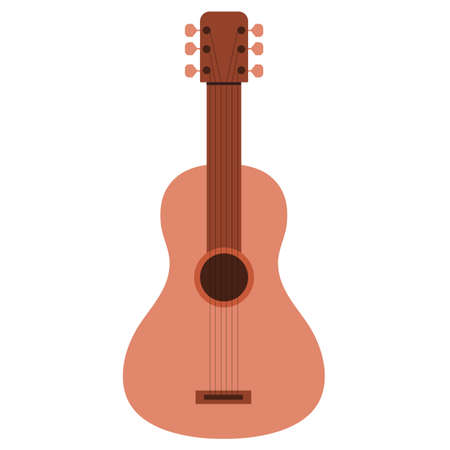 Classical wooden guitar or ukulele in pastel colors. Vector illustration of musical instrument