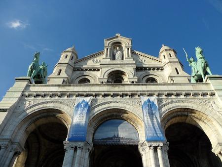 サクレクール寺院ポーチコ、モンマルトル, パリ, フランス, ヨーロッパ
