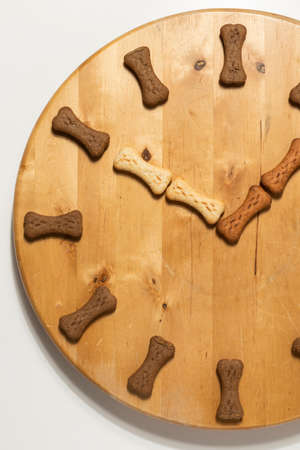Round wooden floor cat dog treats cracker time zone