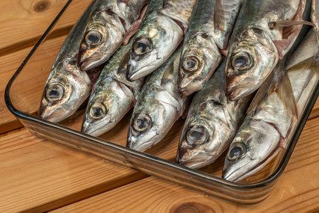 Fresh large size delicious mackerel fish strung in glass plate 版權商用圖片