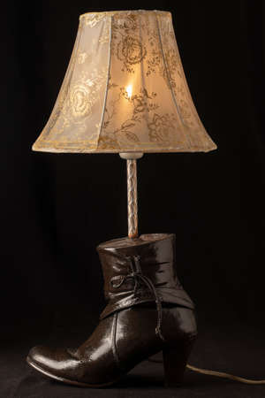 Handmade decorative night light lampshade made of high-heeled leather women's shoes