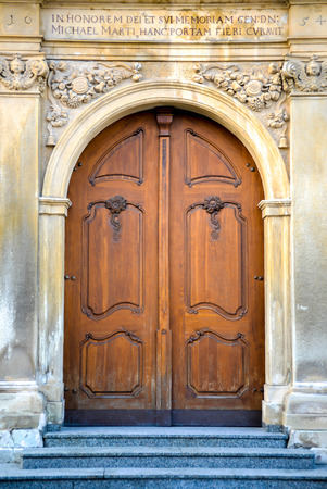 Old doors to cathedral photo