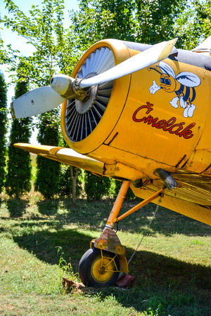 agro: Bumble-bee agro aircraft with bumble-bee painted on engine cover Editorial