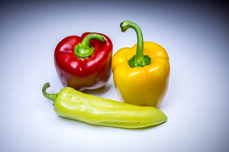 bell peper: Colorful paprikas painted with light