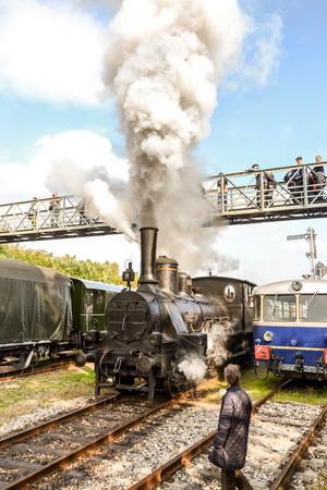 wien: Historic Austrian steam engine shunting in Wien museum depot