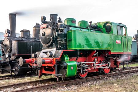 czechoslovak: Two old steam Czechoslovak locomotives in museum