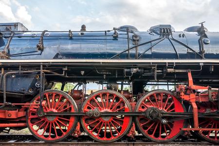 czechoslovak: Side view on CSD, Czechoslovak steam locomotive, with huge, red spoke main wheels