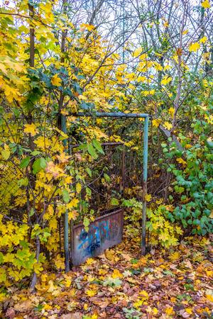 open gate: Abandoned garden  with open gate in Bratislava, Slovakia