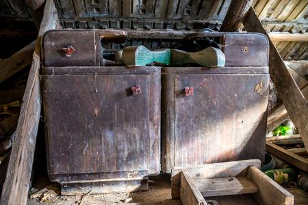 bedside tables: Old abandoned bedside tables, left on loft