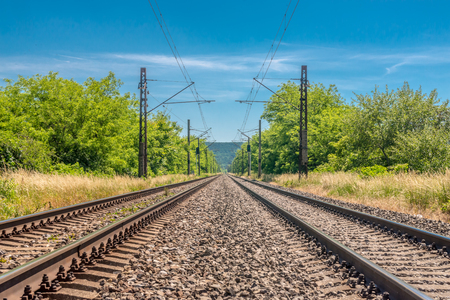 Forehead to main railway speed track Stock Photo