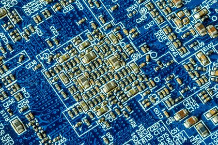 Blue printed curcuit board PCB for computer components with electronic elements Banco de Imagens