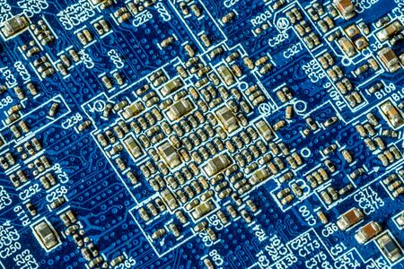 Blue printed curcuit board PCB for computer components with electronic elements Stock Photo