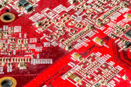 Red printed curcuit board PCB for computer components with electronic elements