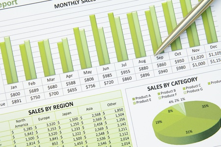 A closeup of a business financial chart with pie and table graphs. Stock Photo - 11268774