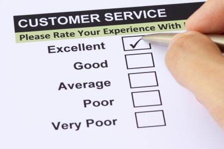 kunden: Ausgezeichnete Erfahrung Checkbox in der Kundenbetreuung Umfrage
