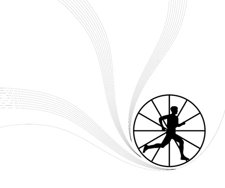 The running person in a wheel  Stock Vector - 4425576