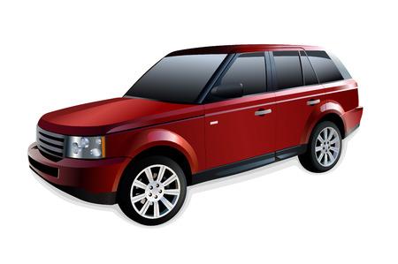 mode of transportation: Red fuoristrada isolato su bianco con ombra