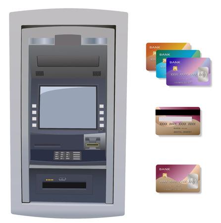 Cajero automático con tarjeta de crédito. Aislado en blanco.