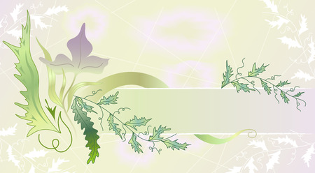 Horizontal frame with flower and leafs Vector