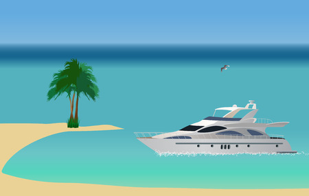 Luxury white yacht crossing the sea. Vector