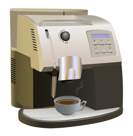 with coffee maker: Coffee Machine with cup of coffee. Isolated on white. Coffee maker and cup of coffee are on separate layers.