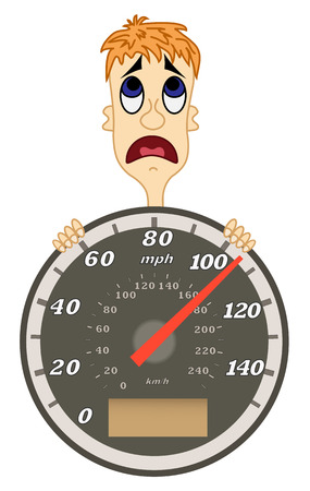 kph: Speedometer with scared man. Isolated on white.