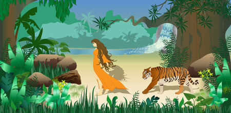 river vector: Girl with tiger in tropical forest.