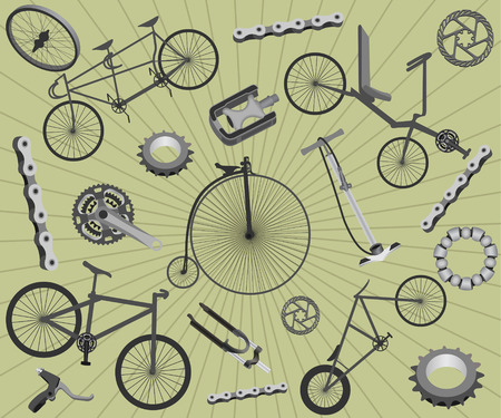 Background with bicycles and spare parts