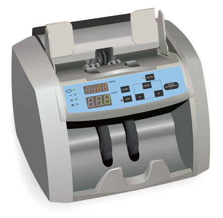 counterfeit: Realistic Banknote counter. Isolated On White.
