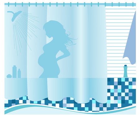 The pregnant woman washes in a shower. Vector