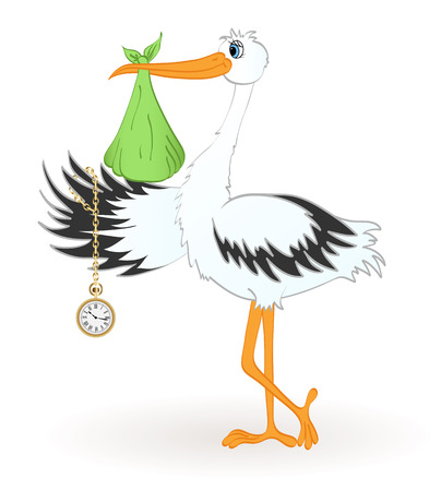 Stork with newborn baby and golden clock.