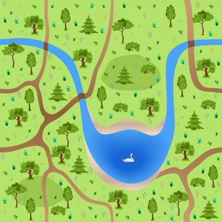 forest path: Seamless forest with flowers, lake and swan