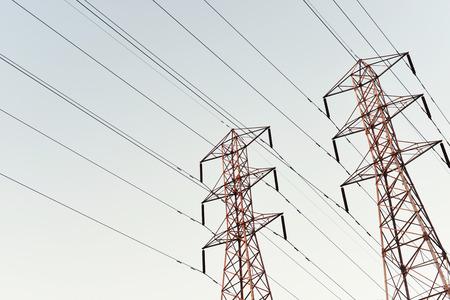 steel tower: Steel tower towering at dusk sky