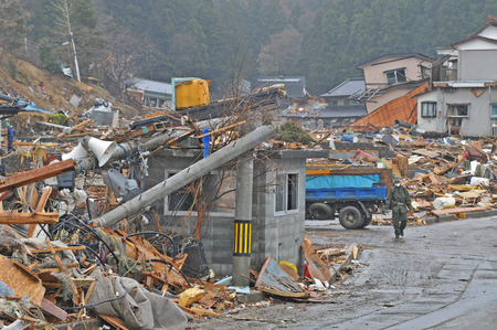 The outbreak of the unprecedented Great East Japan Earthquake and tsunami Stock Photo - 37974639