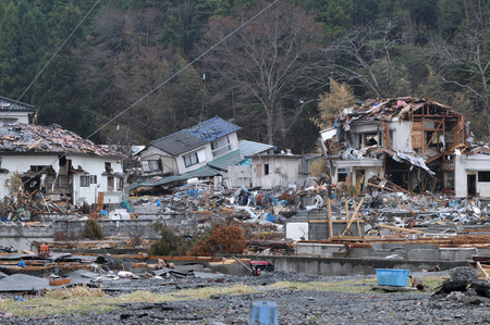 The outbreak of the unprecedented Great East Japan Earthquake and tsunami Imagens - 37975042