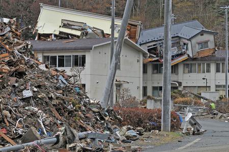 Het uitbreken van de ongekende Great East Japan aardbeving en tsunami Stockfoto