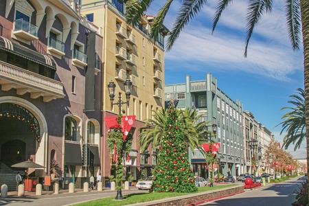 Shopping street of Christmas season 스톡 콘텐츠