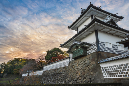 Scenery of kanazawa castle of nightfall