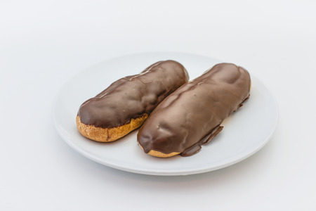 eclair: Eclair topped with chocolate