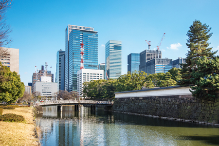 castle district: Scenery of Edo castle and business district in Tokyo Editorial