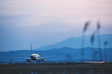 ridgeline: Airport in the nightfall Stock Photo