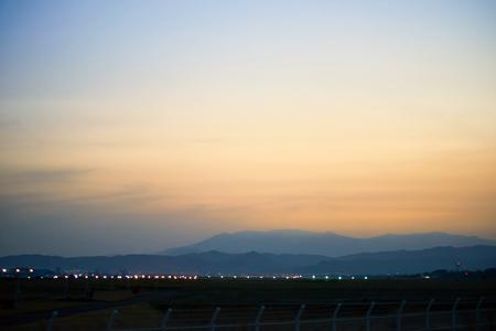 nightfall: Airport in the nightfall Stock Photo