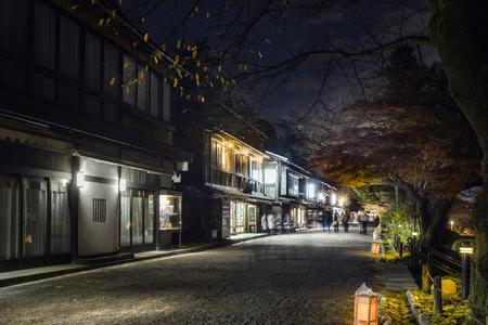 tea house: Scenery of the night tea house street