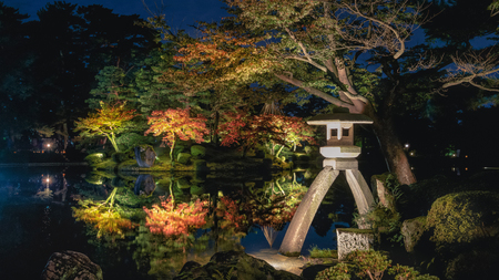Beautiful autumn scenery of Japanese garden at night