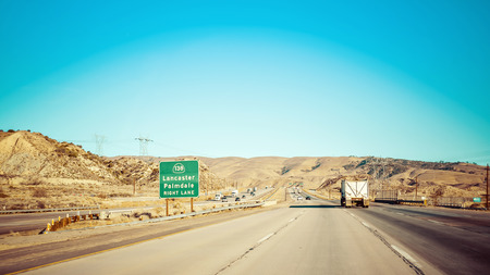one lane street sign: Highway 5 in California