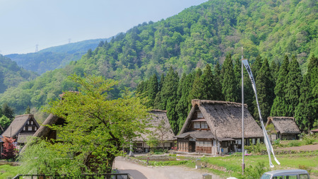 spring green: Scenery of the old village in the middle of mountain