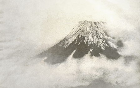 ukiyoe: Japanese style background image: The top of Mt. Fuji covered with snow