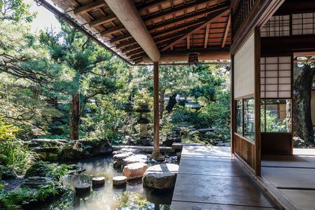 Traditional Japanese garden of samurai residence in Kanazawa Editorial