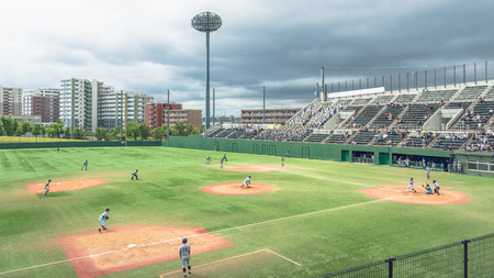 Scenery of the High School Baseball Game Editorial