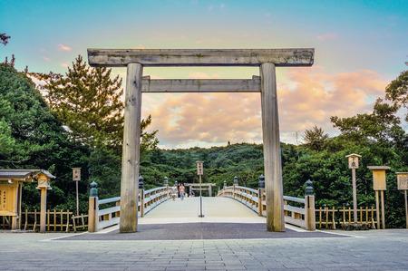 Landschap van het Ise Grand Shrine in de zonsondergang Stockfoto